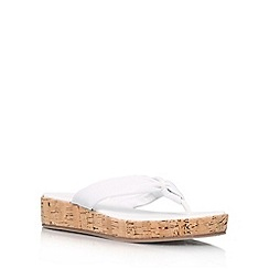 Carvela - White 'Kredible' flat leather wedge flip flops