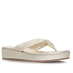 Carvela - Gold 'Kredible' flat leather wedge flip flops