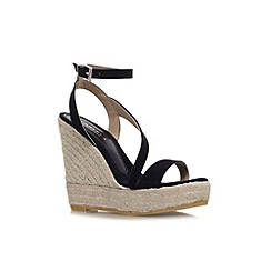 Carvela - Black 'Klassy' high wedge heel strappy sandal