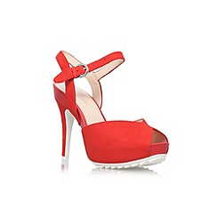 Nine West - Red 'Ratical' high heel peep toe court shoe