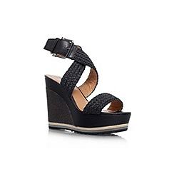 Nine West - Black 'Waldrid2' high wedge heel sandal