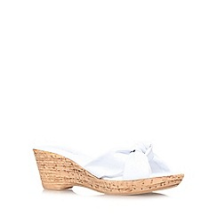 Carvela Comfort - White 'Skylar' mid wedge heel sandals