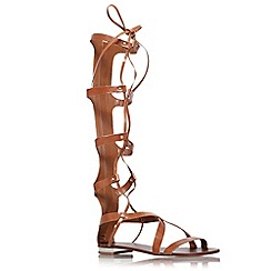 Carvela - Tan 'Kiki' flat strappy knee high lace up sandals