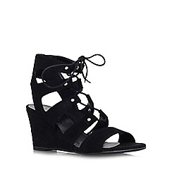 Carvela - Black 'Khristie' mid wedge heel strappy shoe boot
