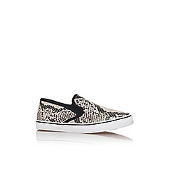 Miss KG - Black and white 'kelly' flat slip on printed trainer