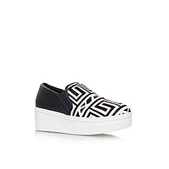 KG Kurt Geiger - Black/white 'Lizard' flat platforn slip on casual shoe