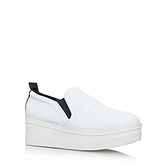KG Kurt Geiger - White 'lizard' high heel slip on sneakers