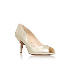 Nine West - Gold 'Orissa20' mid heel peep toe court shoes
