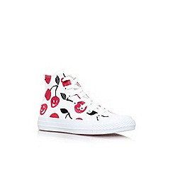 Converse - White/red 'ct cherry hi' lace up trainer