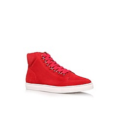 KG Kurt Geiger - Red 'Brickers' flat lace up hi top trainer