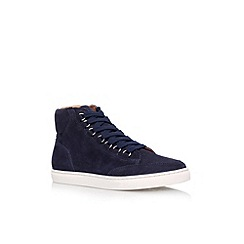 KG Kurt Geiger - Navy 'Brickers' flat lace up hi top trainer