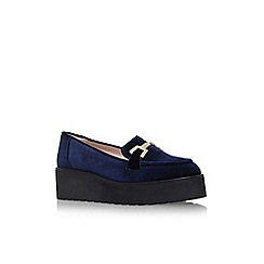 Carvela - Navy 'Latch' flat platform slip on loafer