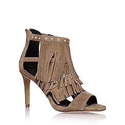 KG Kurt Geiger - Taupe 'Iggie' high heel fringed shoe boot