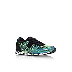 Miss KG - Green Comb 'Lioni' flat lace up print detail trainer
