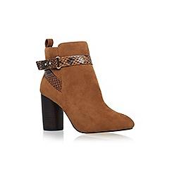 Miss KG - Tan 'Sketch' high block heel ankle boot