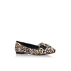 Carvela - Tan Comb 'Megan' flat slip on printed court shoe