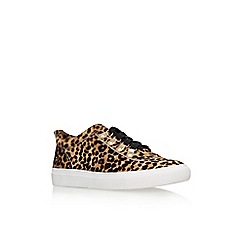 KG Kurt Geiger - Tan 'Lynx' flat lace up printes low top trainer