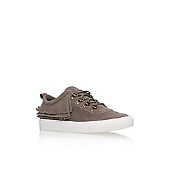 KG Kurt Geiger - Taupe 'Lynx' flat lace up lo top trainer