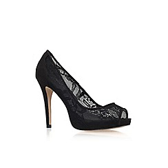 Carvela - Black 'Lara' lace high heel peep toe court shoe