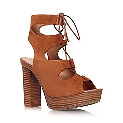 KG Kurt Geiger - Tan 'Henna' high heel platform lace up shoe boot