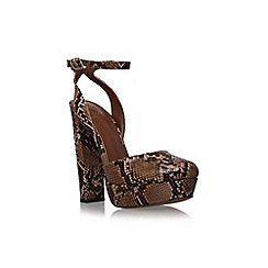 KG Kurt Geiger - Tan 'Dixie' high heel platform print court shoe