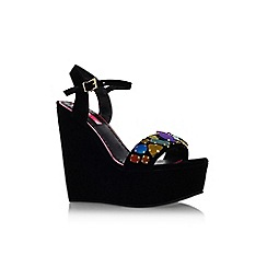 Miss KG - Black 'Gilly' high wedge heel embellished sandal