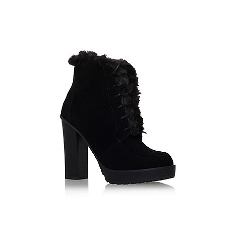 Miss KG - Black +Serene+ high heel fur detail ankle boot