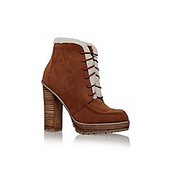 Miss KG - Tan 'Serene' high bock heel lace up fur detail ankle boot