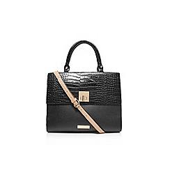 Carvela - Black and beige 'Fina' lock croc handbag