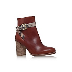 Carvela - Tan 'slip' high block heel buckle detail ankle boot