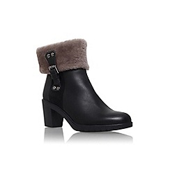 Carvela Comfort - Black 'Rebecca' mid block heel fur detail ankle boot