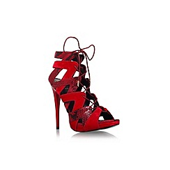 KG Kurt Geiger - Red 'Hoxton' high heel lace up strap sandal