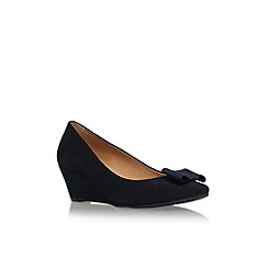 Carvela Comfort - Blue 'Abby' low wedge heel court shoe with bow