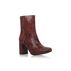 KG Kurt Geiger - Tan Comb 'Snape' mid block heel print detail ankle boot
