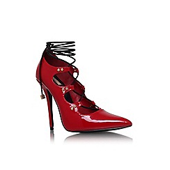 Carvela - Red 'Gogo' high heel lace up detail court shoe