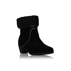 Carvela Comfort - Black 'Robin' mid block heel pull on fold over detail ankle boot