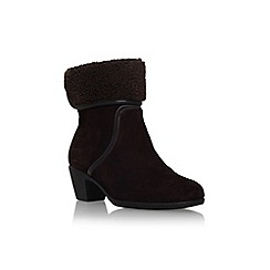 Carvela Comfort - Brown 'Robin' mid block heel pull on fold over detail ankle boot