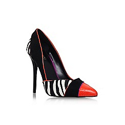 Carvela - Black/comb 'Aztec' high heel print detail court shoe