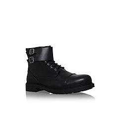 KG Kurt Geiger - Black 'Hearns' flat lace up buckle detail ankle boot