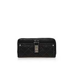 Nine West - Black 'Flip lock zip around' clutch bag