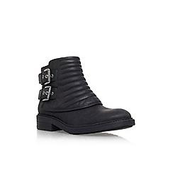 Nine West - Black 'Gingham' low heel biker style boot
