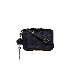Carvela - Blue 'Cale x body fur bag' small shoulder bag with tassels