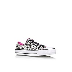 Converse - White/blk 'Ct animal low' flat lace up printed lo top trainer