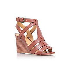 Nine West - Brown 'farfalla' high wedge heel sandal
