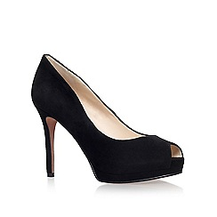 Nine West - Black 'Firstbase' high heel peep toe court shoe