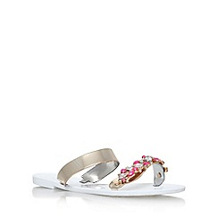 Lipsy - White 'Glitter' flat slip on sandals