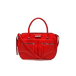 Nine West - Red 'Just zip it satchel' large handbag with shoulder strap
