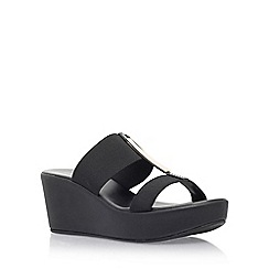 Carvela Comfort - Black 'Sapphire' high wedge heel sandals