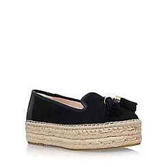 Carvela - Black 'Liberty' mid heel espadrille loafer