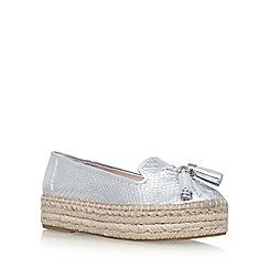 Carvela - Silver 'Liberty' mid heel espadrille loafer